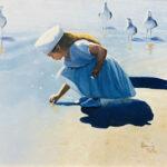 picking sea shells oil on canvas original art bonnie perlin florida artist