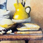 tuscan table oil on canvas original still art by bonnie perlin
