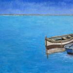 portuguese fishing boats original art bonnie perlin