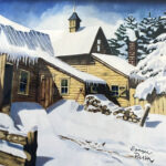 snowy day oil on canvas by artist bonnie perlin