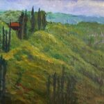 tuscan hillside original painting by artist bonnie perlin