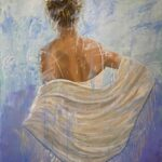 Au Revoir lady with shawl original painting florida artist bonnie perlin