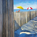 beach fence seascape painting florida artist bonnie perlin
