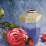 blue vase red rose still life original painting florida artist bonnie perlin