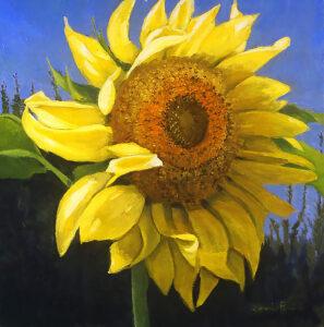 first sunflower impressionist landscape painting florida artist bonnie perlin