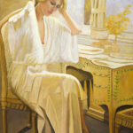 golden lady at bedroom vanity original painting florida artist bonnie perlin