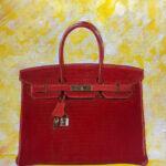 red birkin handbag pop art original painting florida artist bonnie perlin