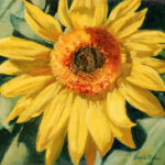 sunflower bloom impressionist landscape painting florida artist bonnie perlin