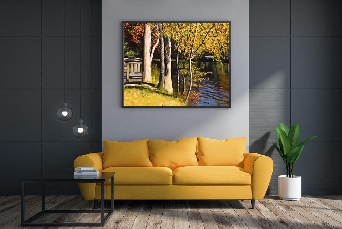 original painting by artist bonnie perlin in transitional living room