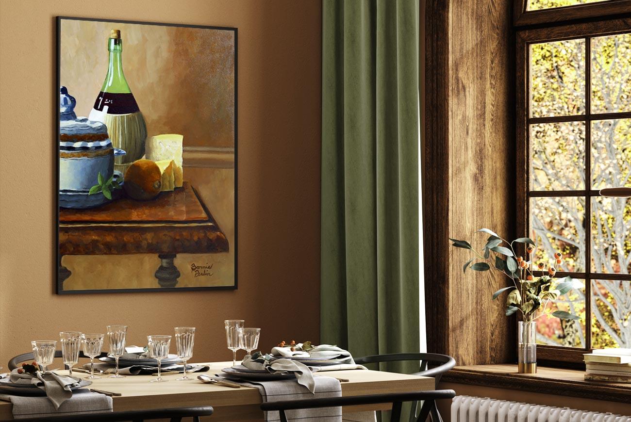 original still life painting by artist bonnie perlin in transitional warm room